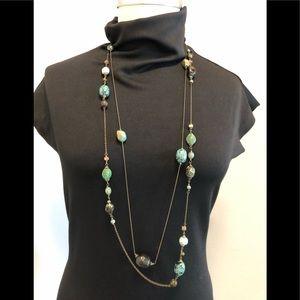Jewelry - Long Multi Strand Stone & Metal